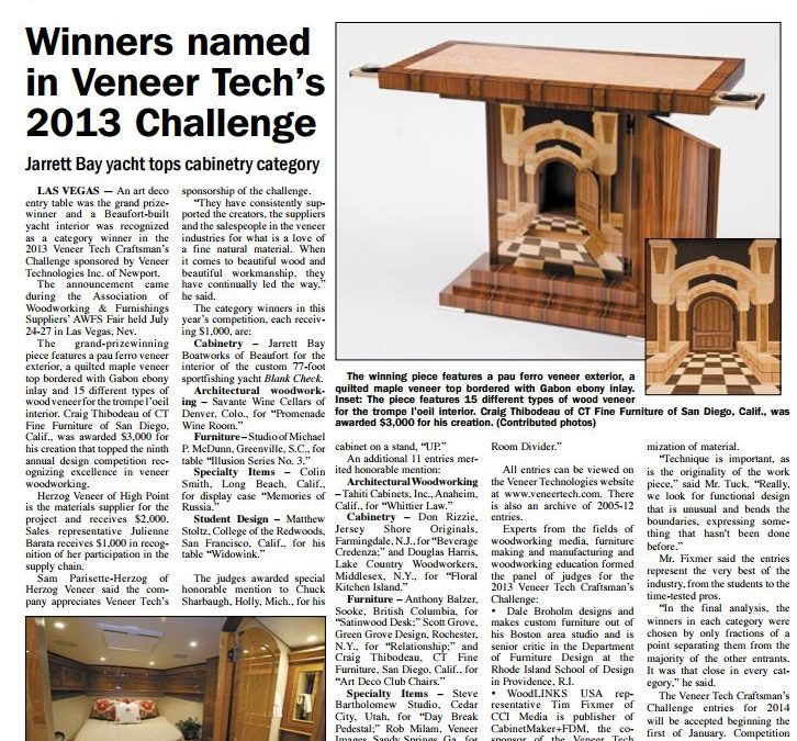 Jarrett Bay Tops Cabinetry Category in Veneer Tech's 2013 Challenge
